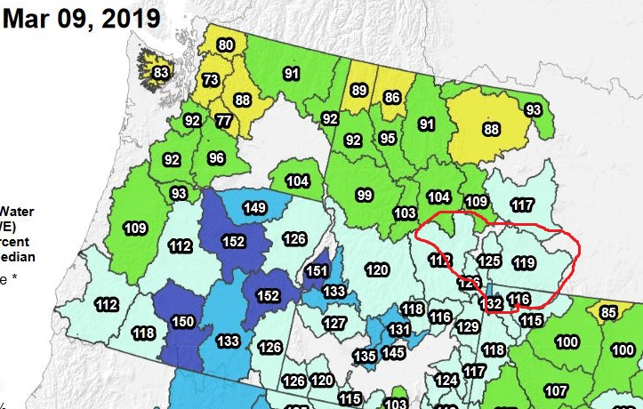 snowpack map early march