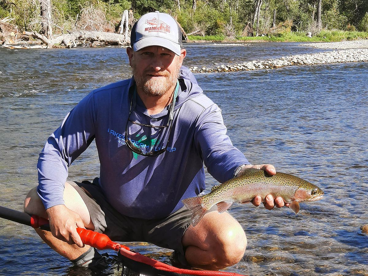 Stillwater River, angler, and rainbow trout